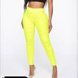 Neon Yellow scrunch pants